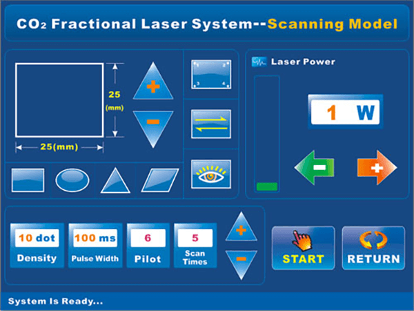 DT-803 Co2 Fractional Laser Glass tube Scanning Mode